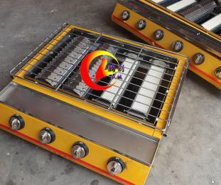 大六头加宽燃气烧烤炉,烤海鲜烤生蚝烤扇贝烧烤机