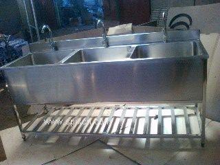不锈钢洗手池_不锈钢3人洗手池_可定做单人多人洗手池