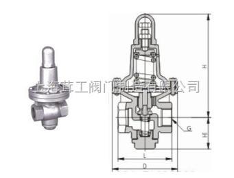 上海 加大薄膜型高灵敏度减压阀 --结构尺寸图--上海茸工阀门制造有限公司