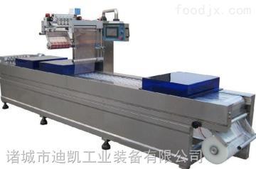 食品連續包裝流水線設備拉伸膜真空包裝機