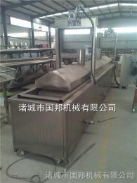 GB-500国邦供应肉饼油炸生产线 肉饼双层网带流水线 肉饼自动控温油炸机