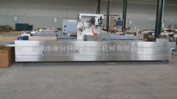 DRZ-420真空包装机金针菇专用全自动连续拉伸膜真空包装机 带有半自动下料机的真空包装机生产厂家