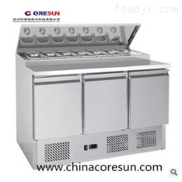 科瑞森风冷不锈钢三门冷藏工作台沙拉台|PS300