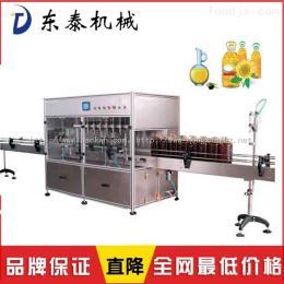 進瓶、定位、灌裝充填、出瓶均自動作業食用油灌裝線