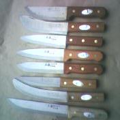 木柄纯钢屠宰刀具