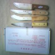 铜铆钉木柄纯钢屠宰刀具
