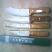 快刃铜铆丁木柄纯钢屠宰刀具