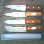 精制铜铆钉猪血红木柄纯钢屠宰刀具