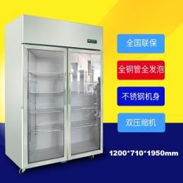 格琳凯斯大二门玻璃门商用厨房冰箱不锈钢冷柜后厨冰箱北京冰箱双机双温