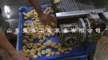 全自動掛漿雞腿油炸機,雞米花油炸流水線