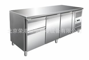 厨房设备公司低价供应食堂冰柜 平台两门两抽冰箱