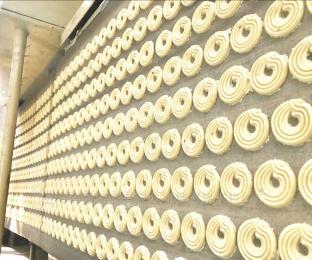 上海合强HQ-620?#20013;?#26354;奇饼干生产线视频 全自动核桃酥机