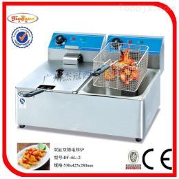 DF-6L-2杰冠+台式双缸双筛电炸炉/电扒炉/烧烤炉/油炸锅/油炸设备