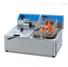 bj76双缸双筛电热炸炉厂家|北京炸鸡腿鸡柳机器|小型炸鸡米花鸡块设备