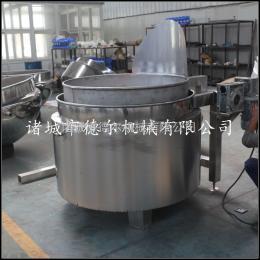 DER-400L蒸汽带自动翻斗立式夹层锅 蒸汽带自动漏斗漂烫夹层锅