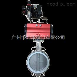 D671F-16广东蝶阀直销供应 气动对夹式衬氟蝶阀 优质气动蝶阀
