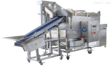 cx滚筒式蔬菜丸子裹料机 连续式肉食上粉机 翅根鸡排自动上料机