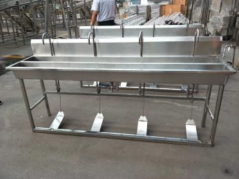 雙工位洗手槽不銹鋼感應消毒洗手池