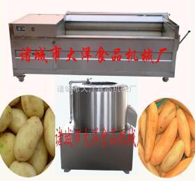 毛辊红薯清洗机、地瓜剥皮机、山芋清洗及机、土豆清洗去皮的机器