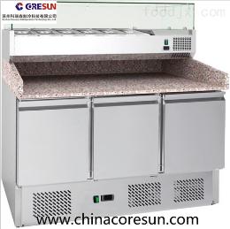 三門不銹鋼冷藏保鮮工作臺分體式3米6披薩臺|PZ3600TN+VRX2000