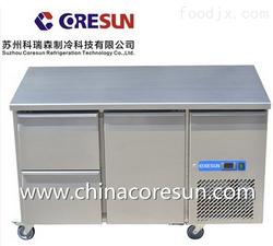 科瑞森不锈钢风冷双抽屉单门保鲜平台柜冷藏冷冻商用厨房卧式冷柜
