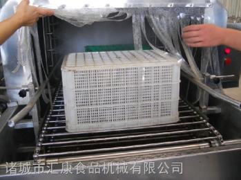 XKJ-8米隧道式高压喷淋洗筐机,鸡鸭筐清洗消毒机